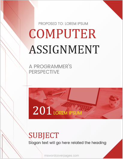 Computer assignment cover page template