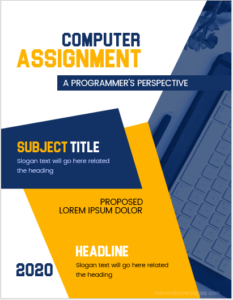Cover page sample for computer assignment