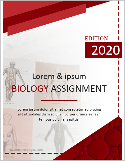 Assignment cover page sample for Biology