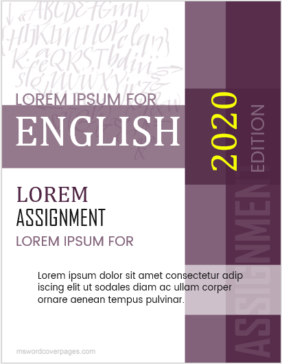 English Assignment Cover Page Templates | MS Word Cover Page