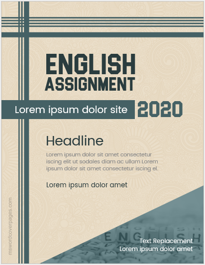 English assignment cover page format