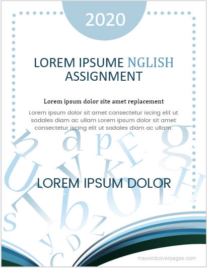 Assignment cover page for English subject
