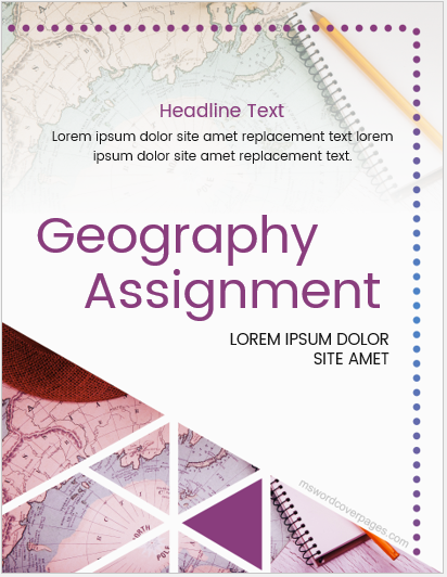 Geography assignment cover page template