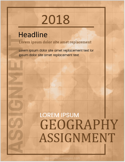 Geography assignment cover page layout