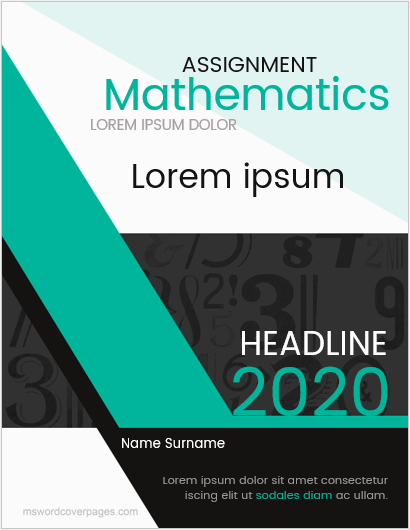 Cover Page for Mathematics Assignment