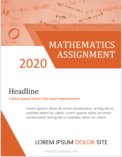 Mathematics Assignment Cover Pages