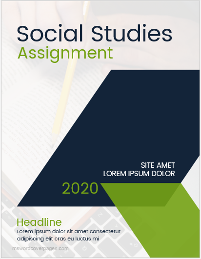 Social study assignment cover page sample