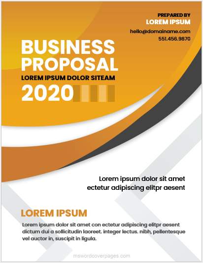 Business Proposal Cover Page Templates Word Ms Word Cover Page Templates