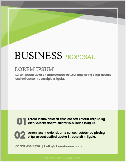 Business proposal cover page sample