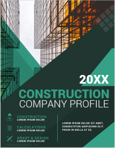 Construction company profile cover page