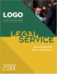 Legal services company profile cover page