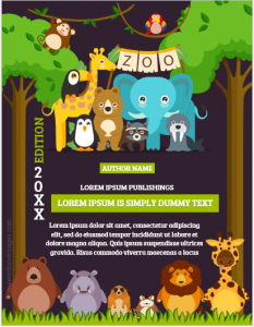 Zoo storybook cover page template